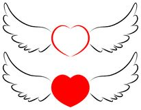 Flying heart symbol in wings Stock Image