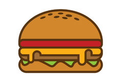 Simple illustration of hamburger. Vector royalty free illustration