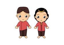 Traditional couple dress of Yogyakarta. Simple illustration of a kids wearing a traditional couple dress of Yogyakarta, Indonesia. Illustration created by stock illustration