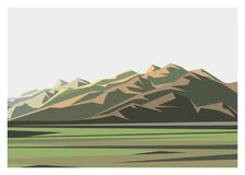 Mountain and field scenery simple illustration Royalty Free Stock Images