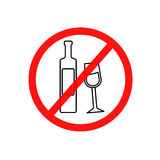 Simple  illustration of a prohibitory sign drinking a spirits, a flat line icon.  Royalty Free Stock Photo