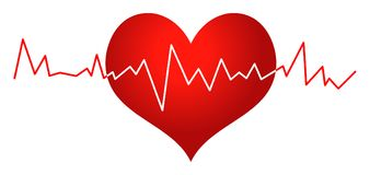Red heart and heartbeat clip art. Simple illustration of red heart and heartbeat clip art on white background Royalty Free Stock Images