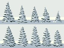 Simple illustration of snowy spruce trees fir, fir-tree. Set of vector simple illustration of snowy spruce trees fir, fir-tree royalty free illustration