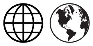 World globe icon clip art. Simple illustration of vector black color world globe icon clip art on white background royalty free illustration