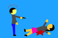 Simple illustration, Woman killed. Woman killed by a man Royalty Free Stock Image
