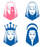 Simple illustrations of spiritual women. Set of simple illustrations of spiritual women Royalty Free Stock Photography