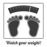 Simple ilustration of feet on weighing machine Stock Photos
