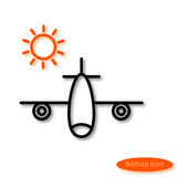A simple  image of an airplane carrying vacationers and an orange sun, a flat line icon for a travel agency Stock Photos