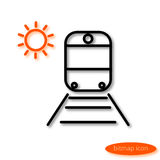 Simple  image of a train on rails with sleepers and orange sun, a flat line icon for a travel agency. Stock Photo