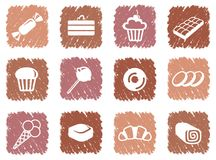 Icons of sweets. Simple images of sweets. Ice-cream, pies, sweets and so on Royalty Free Stock Photo
