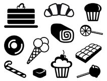 Icons of sweets. Simple images of sweets. Ice-cream, pies, sweets and so on Royalty Free Stock Images