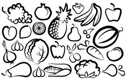 Simple images of vegetables and fruit Stock Image