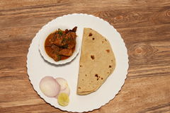 Simple Indian chicken curry thali Stock Photos