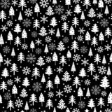 Funny White Christmas Tree and Snow Flakes Vector Pattern. Black and White Irregular Design with Abstract Trees and Dots. vector illustration