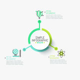 Simple infographic design template. Central circular element connected with three multicolored pictograms and text boxes Royalty Free Stock Photo