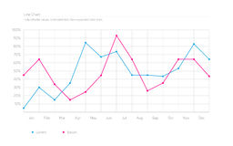 Simple Infographic Line Chart - Sky Blue, Deep Pink stock illustration