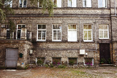 Simple Inner courtyard with traditional house in Warsaw, Poland Royalty Free Stock Images