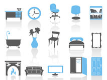 Simple interior furniture icons set,blue series Royalty Free Stock Photography