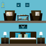 Simple interior. Illustration in trendy flat style with room and bedroom interior Royalty Free Stock Images