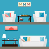 Simple interior. Trendy flat style  on stylish blue cover Stock Images