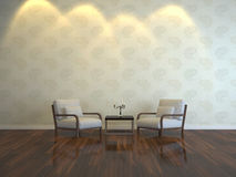 Simple interior. Two lounge chairs in the room Stock Images