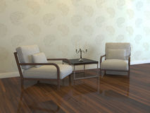 Simple interior. Two lounge chairs in the room Stock Photos