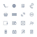 Simple internet icons set. Universal internet icons. Set of 16 quality icons for Web and Mobile. Media, computers, shopping, travel, business, navigation service Stock Photography