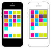 Simple IPhone 4 or 5 Vector Illustration. Apple IPhone 4 or 5  illustration. Two versions, black and white, simple design Stock Photos