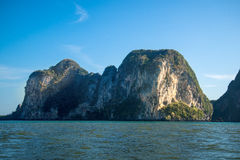 Simple island or mountain in sea.  Stock Photo