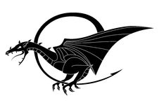 Simple isolated illustration of black dragon. Simple stylized and isolated illustration of black fantasy dragon Stock Image