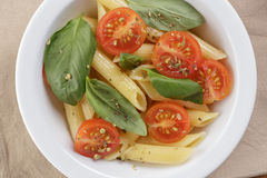 Simple italian pasta penne with tomatoes and basil Stock Images