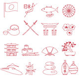 Simple japan theme outline icons set eps10 Stock Photo