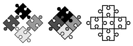 Simple jigsaw puzzle pieces. Vector objects snap to each other, stock illustration