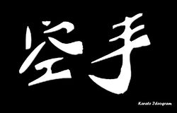 Simple Karate Ideogram on blac. It's the japanese karate Ideogram, on a black background. The text Karate ideogram can be easily deleted if you want Royalty Free Stock Photo