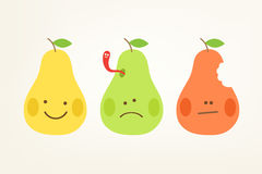 Simple kawaii pears Stock Photos
