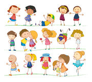 Simple kids. Illustration of collection of simple kids Royalty Free Stock Photography