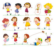 Simple kids. Illustration of collection of simple kids Royalty Free Stock Photo