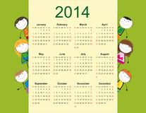 Simple 2014 kids calendar Royalty Free Stock Images