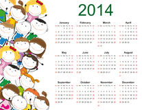 Simple 2014 kids calendar. Simple and colorful calendar on 2014 year with happy kids Royalty Free Stock Photos