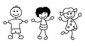 Simple kids playing, cartoon illustration. Stock Photos