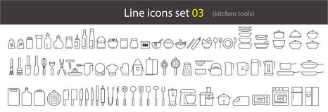 simple kitchen tools line icon set, vector illustration Stock Image