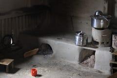 Simple kitchen. Trekking in majestic Himalaya mountains stock photography