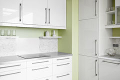Simple kitchen in white colors Stock Photo