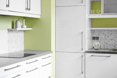 Simple kitchen in white colors Stock Image