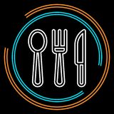 Simple Knife, Fork and Spoon Thin Line Vector Icon stock illustration