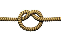Simple knot. Rendered simple knot. Isolated on white. Old rope stock illustration