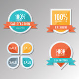 Simple labels collection. To be used for promotions or product guarantee Stock Photos
