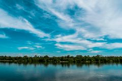 A simple landscape in the Rostov region in Russia, the river - Seversky Donets, Don. Spring is the beginning of summer. Green vege Royalty Free Stock Image