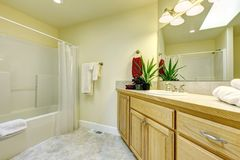 Simple large bathroom with tub and wood cabinets. Royalty Free Stock Photos