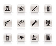 Simple law, order, police and crime icons Stock Photography